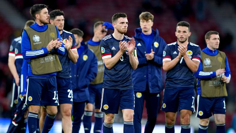 Scotland's Andrew Robertson applauds the fans after the UEFA Euro 2020 Group D match at Hampden against Croatia