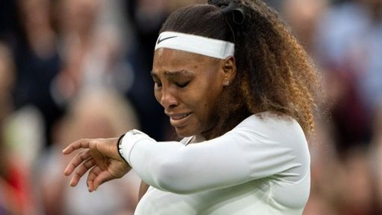 Serena Williams cries after pulling out of her match against Aliaksandra Sasnovich in the first round of the Ladies' Singles on Centre Court on day two of Wimbledon at The All England Lawn Tennis and Croquet Club, Wimbledon. Picture date: Tuesday June 29, 2021.