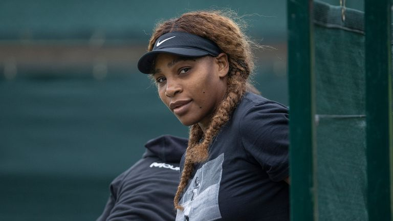 AP - Serena Williams (USA) getting ready to for a practice session at the Aorangi Practice Courts ahead of The Championships 2021. Held at The All England Lawn Tennis Club, Wimbledon. Day -1 Sunday 27/06/2021. Credit: AELTC/David Gray