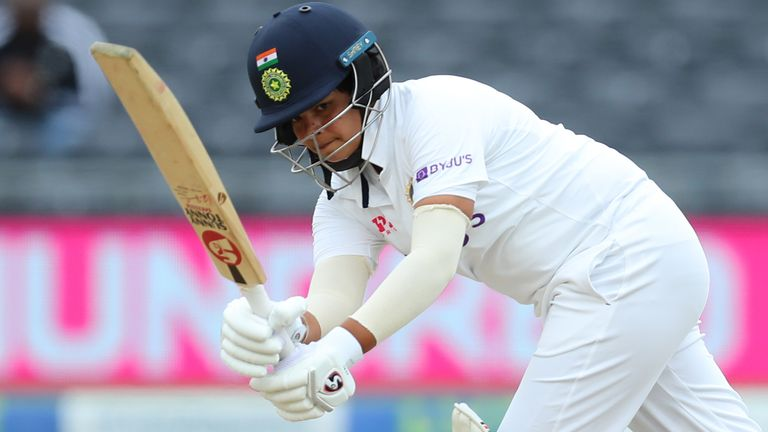 BRISTOL, ENGLAND - JUNE 17: Shafali Verma of India hits a boundary on Day Two of the LV= Insurance Test Match between England Women and India Women at Bristol County Ground on June 17, 2021 in Bristol, England. (Photo by Ashley Allen/Getty Images)
