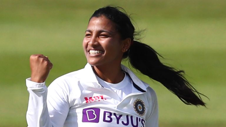 BRISTOL, ENGLAND - JUNE 16: Sneh Rana of India celebrates a wicket on Day One of the LV= Insurance Test Match between England Women and India Women at Bristol County Ground on June 16, 2021 in Bristol, England. (Photo by Ashley Allen/Getty Images)