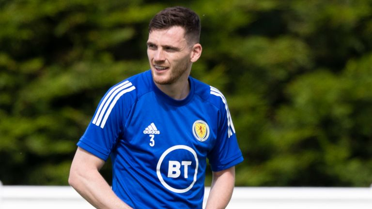 SNS - Andy Robertson during a Scotland training session ahead of Euro 2020