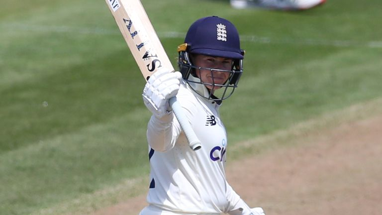 BRISTOL, ENGLAND - JUNE 16: Tammy Beaumont of England reaches 50 on Day One of the LV= Insurance Test Match between England Women and India Women at Bristol County Ground on June 16, 2021 in Bristol, England. (Photo by Ashley Allen/Getty Images)