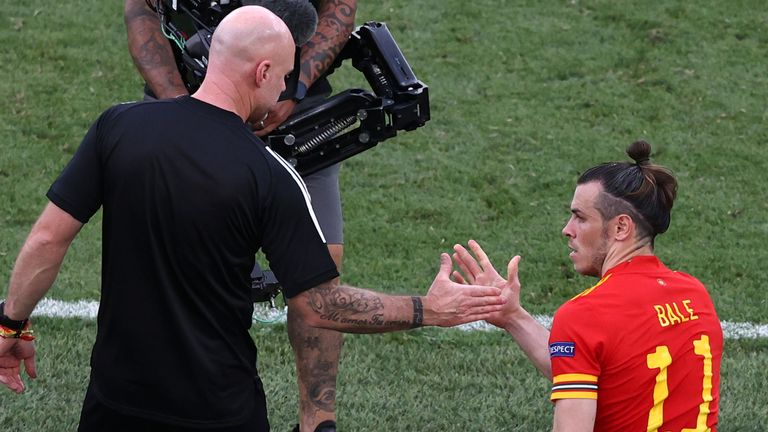 Rob Page and Gareth Bale after Wales secured a place in the last 16 of Euro 2020
