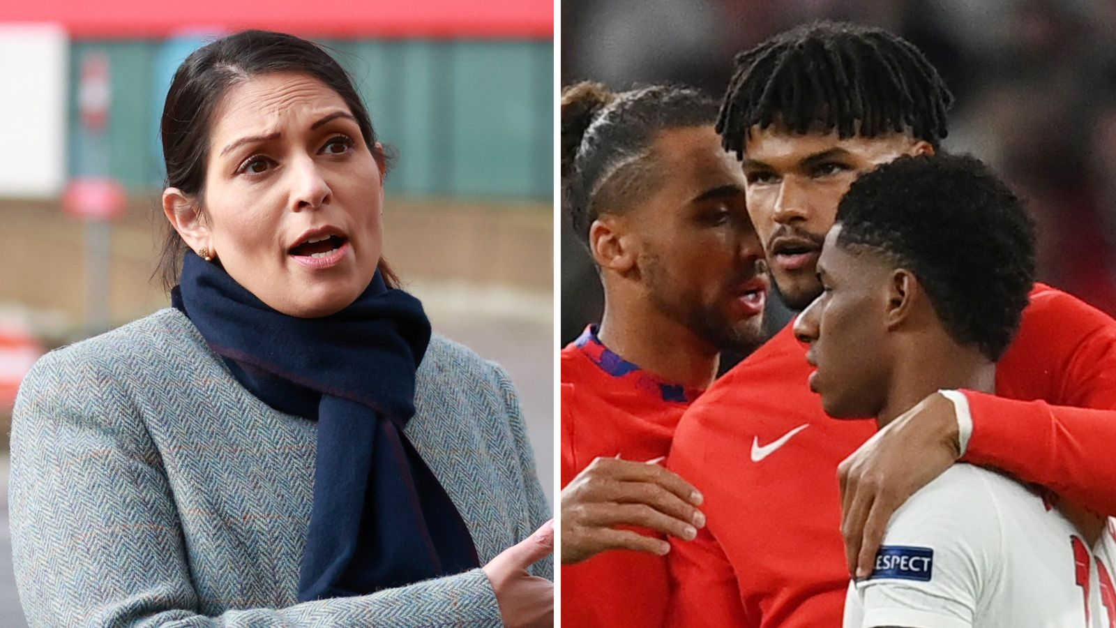 England defender Tyrone Mings hits out at Home Secretary Priti Patel after players subject to racist abuse