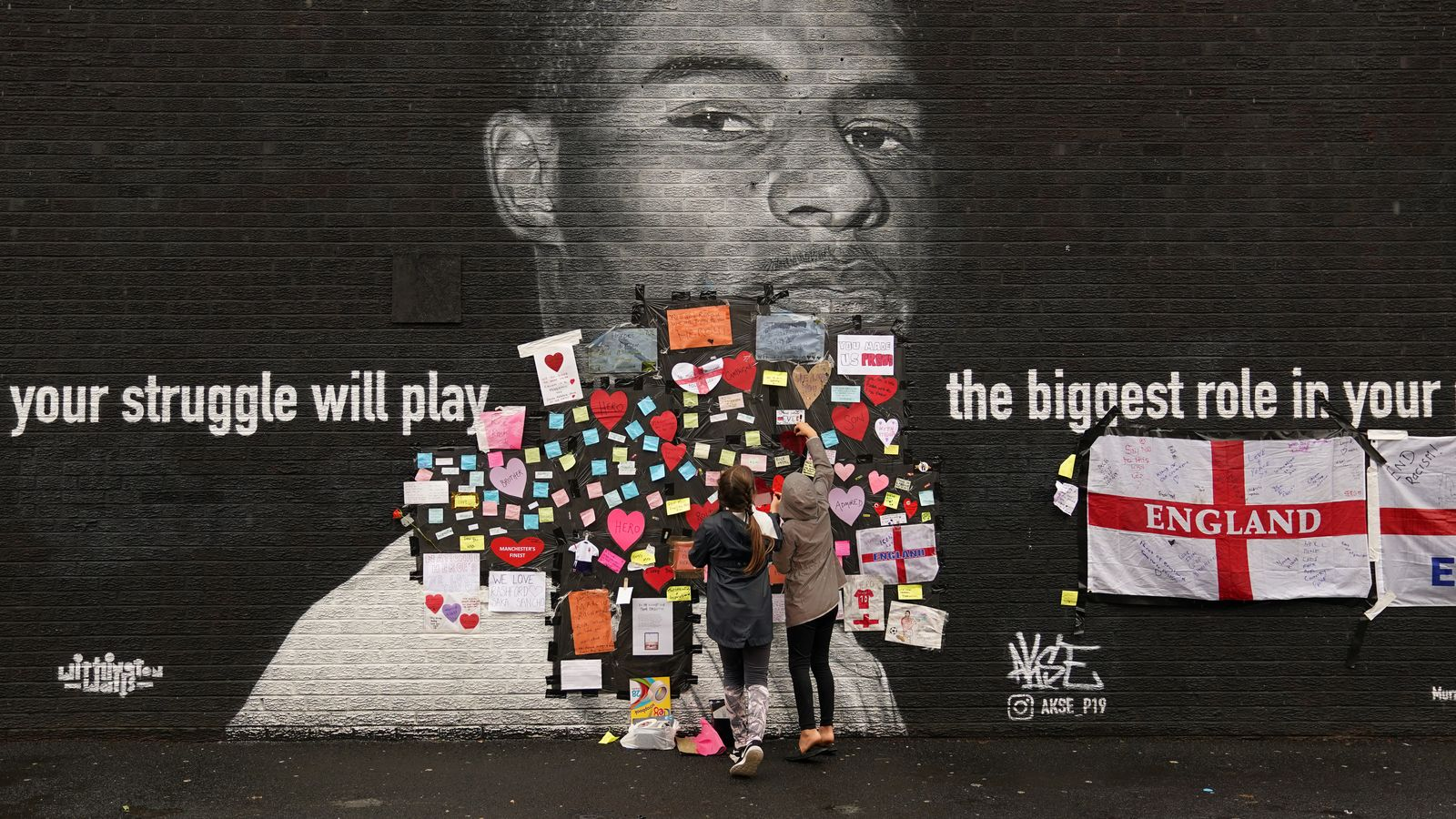 Euro 2020: Marcus Rashford's message to racists as fans cover defaced mural of him with notes of support