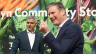 Labour leader Keir Starmer and Mayor of London Sadiq Khan visit the Evelyn Community Centre in Lewisham, South London which offers local residents low cost healthy groceries. The pair helped serve customers and met staff whilst campaigning for the London Mayoral elections. Picture date: Monday May 3, 2021.