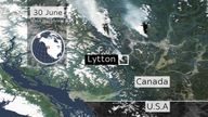 The order to evacuate Lytton was given on Wednesday, and smoke can be seen billowing into the atmosphere