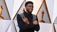FILE - In this March 4, 2018, file photo Chadwick Boseman arrives at the Oscars at the Dolby Theatre in Los Angeles. The acclaimed actor is being posthumously honored as the namesake of Howard's newly re-established Chadwick A. Boseman College of Fine Arts. Boseman, who graduated in 2000 with a BFA in directing, died in August 2020 at age 43 of colon cancer, after an illness that was largely kept secret. He rose to prominence playing a succession of Black icons in biographical films: Jackie Robi