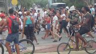 Hundreds of people have taken part in anti-government demonstrations in Cuba