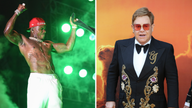 DaBaby's comments have been criticised by Elton John. Pics:  Michele Eve Sandberg/Shutterstock and PA