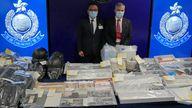Senior Superintendent Li Kwai-wah, Hong Kong Police National Security Department, left, and senior bomb disposal officer Alick McWhirter, Explosive Ordnance Disposal Bureau. Pic: AP