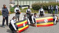 The first group of Ugandan athletes arriving in Japan for the Tokyo Olympics. Pic: AP