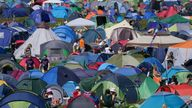 Festivalgoers in the campsite at the Latitude festival in Henham Park, Southwold, Suffolk. Picture date: Thursday July 22, 2021.