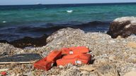 Life jackets washed up on the shore