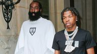 Lil Baby (R) was with NBA player James Harden in Paris. Pic: Rex
