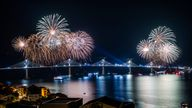 Fireworks lit up the sky over the bridge after it was connected last night
