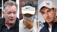 Piers Morgan, Emma Raducanu, Andy Murray. Pics: PA/Reuters/Ella Ling/BPI/Shutterstock