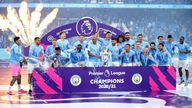 File photo dated 23-05-2021 of Manchester City players celebrate with the trophy after the final whistle in the Premier League match at the Etihad Stadium, Manchester. Issue date: Wednesday May 26, 2021.