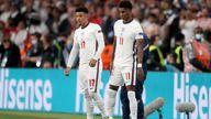 England's Jadon Sancho and Marcus Rashford (right). Pic: AP