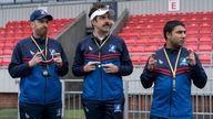 Brendan Hunt, Jason Sudeikis and Nick Mohammed in Ted Lasso. Pic: Apple TV+