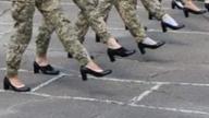 Women in Ukraine's army marching in high heels