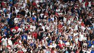 Soccer Football - Euro 2020 - Final - Italy v England - Wembley Stadium, London, Britain - July 11, 2021 England fans inside the stadium during the match Pool via REUTERS/Facundo Arrizabalaga