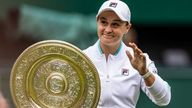 Ashleigh Barty celebrates with her trophy after winning the ladies' singles final match against Karolina Pliskova on centre court on day twelve of Wimbledon at The All England Lawn Tennis and Croquet Club, Wimbledon. Picture date: Saturday July 10, 2021.