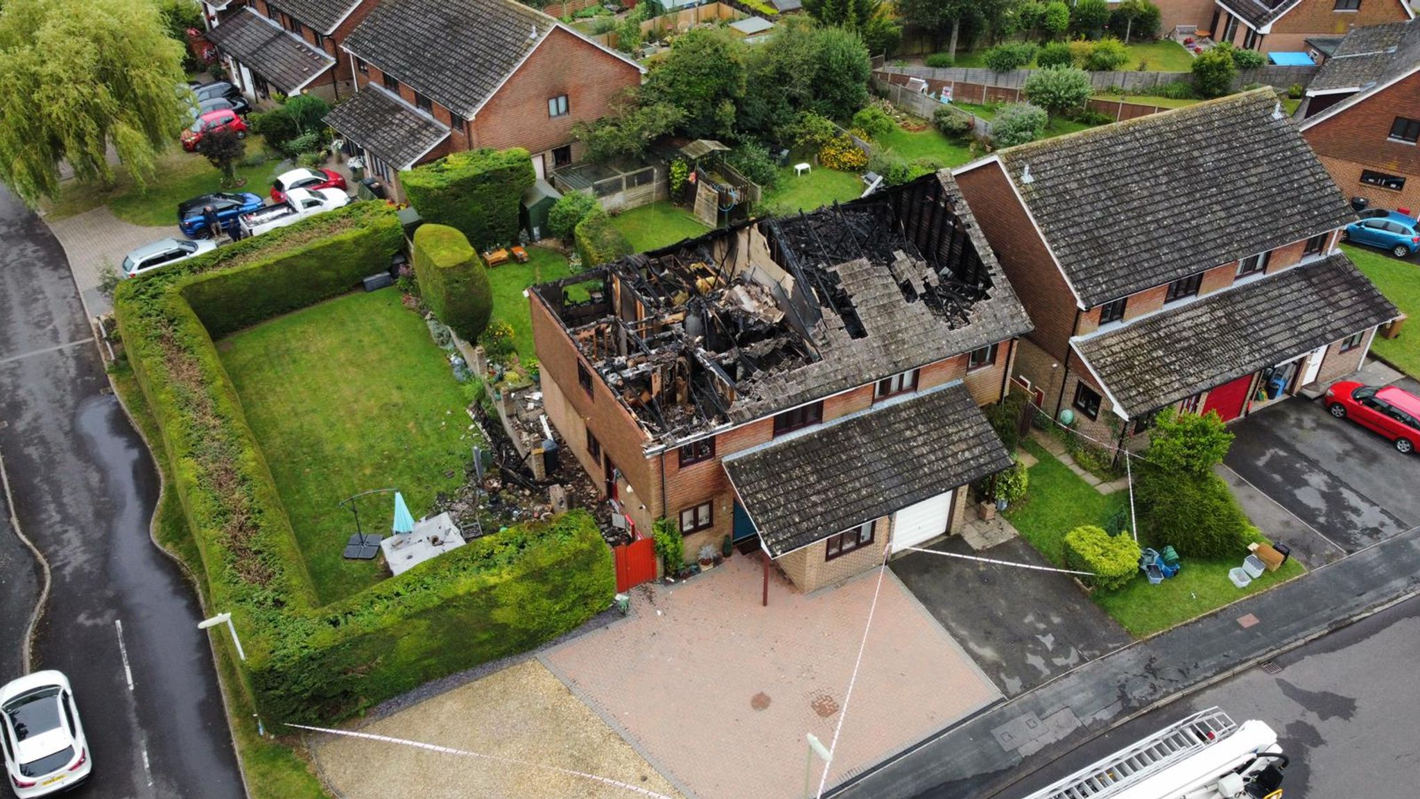 Hampshire: House roofs destroyed after being struck by lightning in Andover  amid thunderstorm warnings | UK News | Sky News