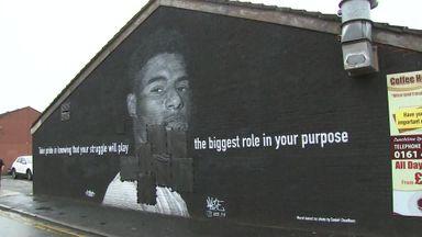 Rashford mural damaged in Manchester