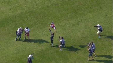 Hamilton celebrates with British fans