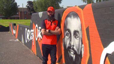 Moeen Ali visits hometown mural