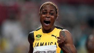 Thompson-Herah defends 100m title with Olympic record
