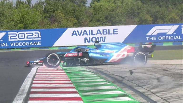 Fernando Alonso suffers a high speed spin in practice one ahead of the Hungarian Grand Prix.