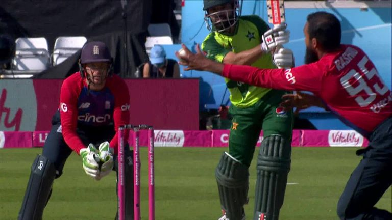 Rashid took a tremendous one-handed catch off his own bowling in the second T20 international