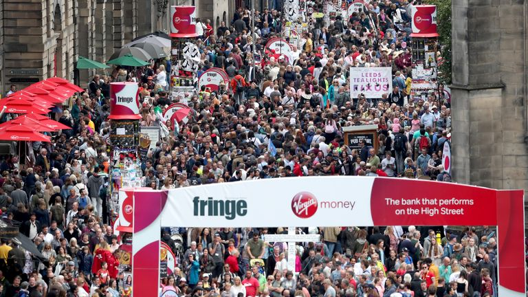 A general view of the Festival crowds down Edinburgh's Royal Mile.