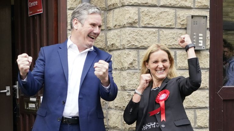 Labour party leader Keir Starmer reacts with Kim Leadbeater in Clackheaton after she won the Batley and Spen by-election and is now representing the seat previously held by her sister Jo Cox, who was murdered in the constituency in 2016. Picture date: Friday July 2, 2021.