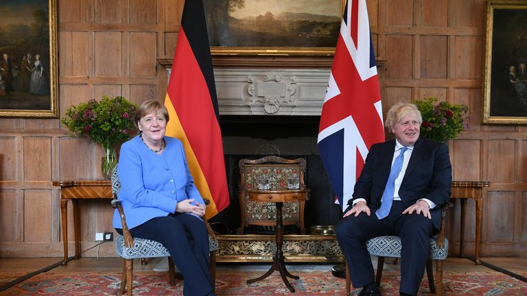 Prime Minister Boris Johnson with the Chancellor of Germany, Angela Merkel, before their bilateral meeting at Chequers, the country house of the Prime Minister of the United Kingdom, in Buckinghamshire. Picture date: Friday July 2, 2021.