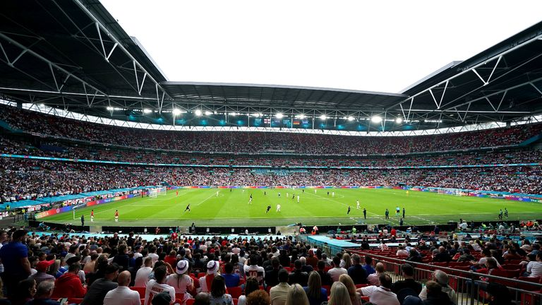 General view of the action during the UEFA Euro 2020 round of 16 match at Wembley Stadium, London. Picture date: Tuesday June 29, 2021.