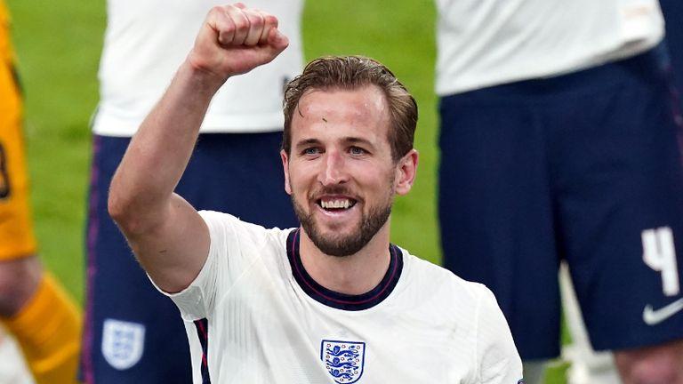 England's Harry Kane celebrates winning the UEFA Euro 2020 semi final match at Wembley Stadium, London. Picture date: Wednesday July 7, 2021.