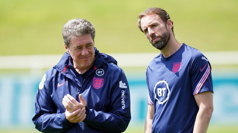 England manager Gareth Southgate (right) alongside John McDermott, Assistant Technical Director during a training session at St George's Park, Burton upon Trent. Picture date: Thursday July 8, 2021.