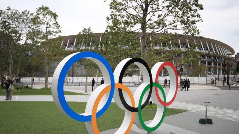 File photo dated 31-12-2020 of Olympic Rings outside the Olympic Stadium in Tokyo, Japan. Issue date: Friday May 7, 2021. Issue date: Friday July 9, 2021.