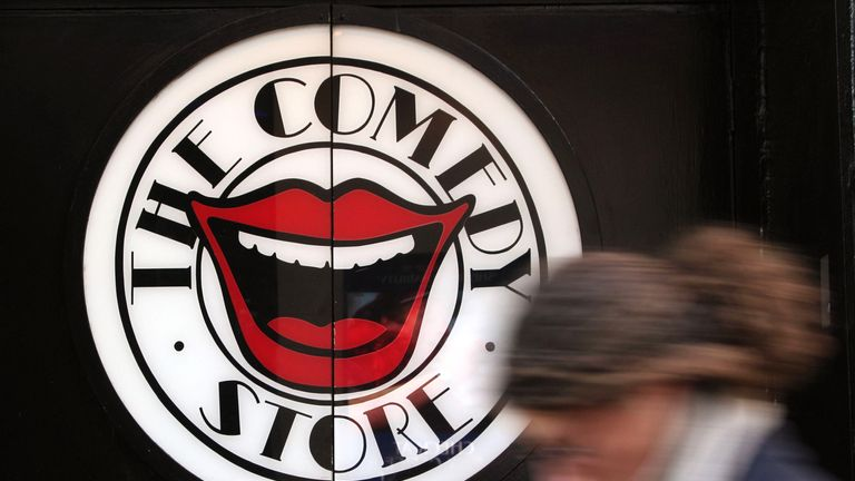 A view of The Comedy Store sign in central London