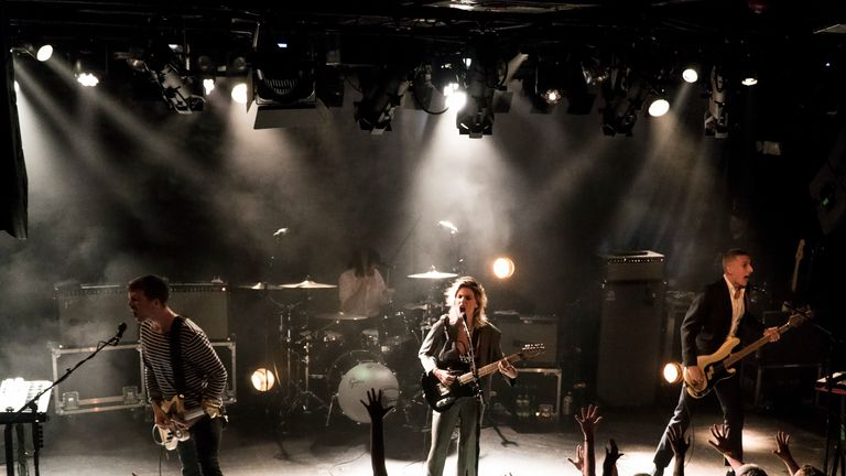 The British alternative rock band Wolf Alice performs at the Paradise Rock Club on Tuesday, April 10, 2018, in Boston. From left to right are guitarist Joff Oddie, drummer Joel Amey, lead vocalist Ellie Rowsell and bass player Theo Ellis. (Photo by Robert E. Klein/Invision/AP)