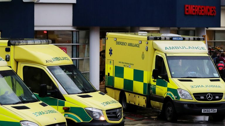 """File photo dated 09/01/17 of ambulances outside the Accident and Emergency Department of the Royal Liverpool University Hospital. Self-harm admissions to hospital in England among teenage girls have more than tripled in the last decade, analysis of """"alarming"""" NHS data has suggested."""