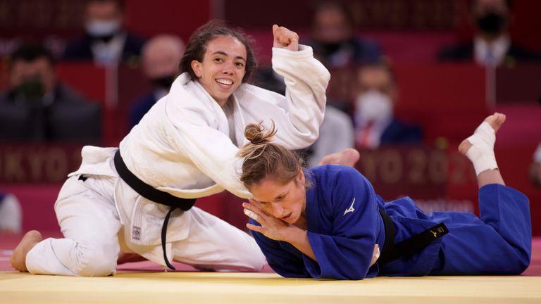 Tokyo 2020 Olympics - Judo - Women's 52kg - Bronze medal match - Nippon Budokan - Tokyo, Japan - July 25, 2021. Chelsie Giles of Britain reacts after winning bronze against Fabienne Kocher of Switzerland REUTERS/Hannah Mckay