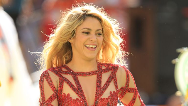 Shakira performs at the closing ceremony prior to the FIFA World Cup Final at the Estadio do Maracana, Rio de Janerio, Brazil.