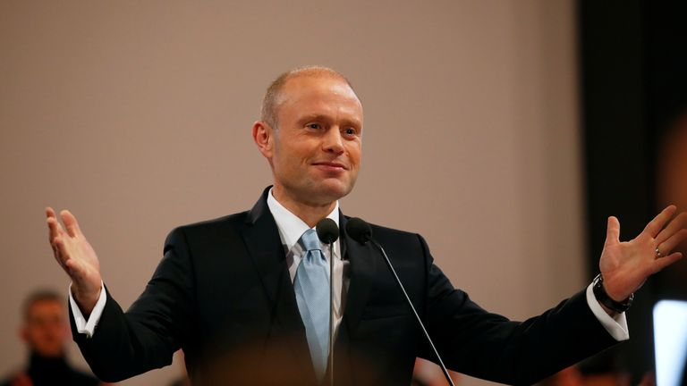 Outgoing Prime Minister and Labour Party leader Joseph Muscat finishes his final speech at the party's Congress before the election of a new party leader at the Corradino Sports Pavilion in Paola, Malta January 10, 2020. REUTERS/Darrin Zammit Lupi