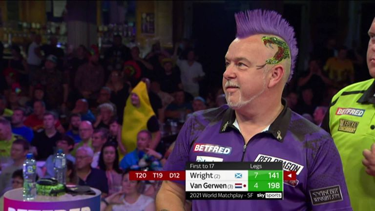 Wright came agonisingly close to landing a nine-darter in his stunning victory over Van Gerwen