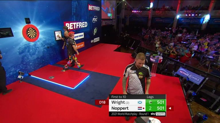 Peter Wright hits a brilliant 121 checkout against Danny Noppert in the World Matchplay